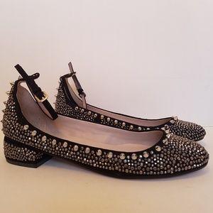 ZARA Studded Ballerina Ankle Strap Heel Flat